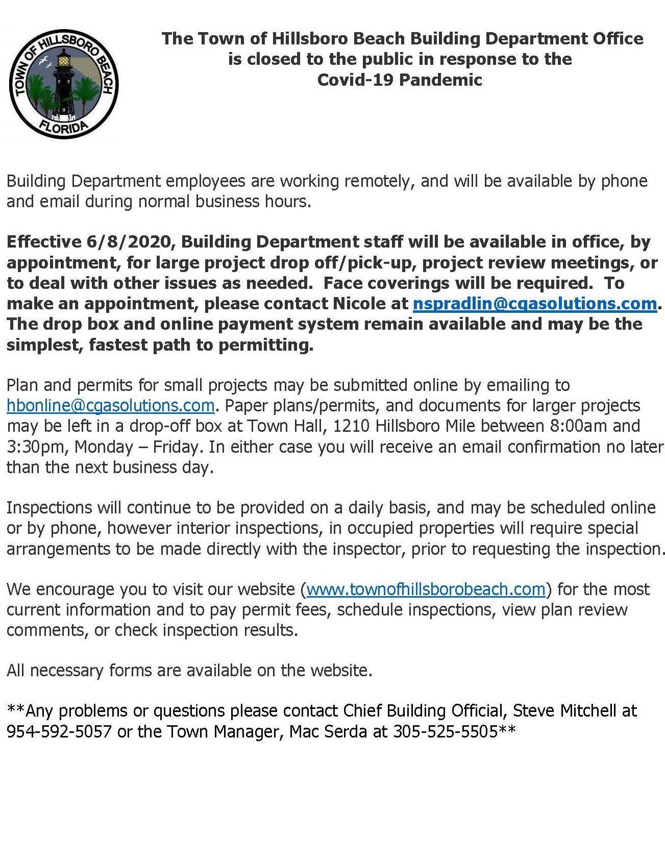 EFFECTIVE 6/8/2020, BUILDING DEPARTMENT STAFF WILL BE AVAILABLE IN OFFICE, BY APPOINTMENT, FOR LARGE Opens in new window